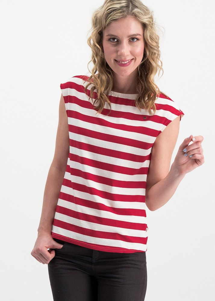 Logo Stripe Top Red/Cream