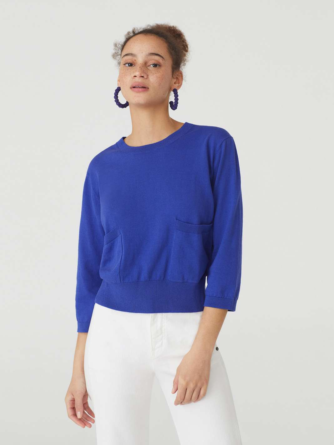 | Short Sleeves Tricot Top With Pockets Dark Lilac
