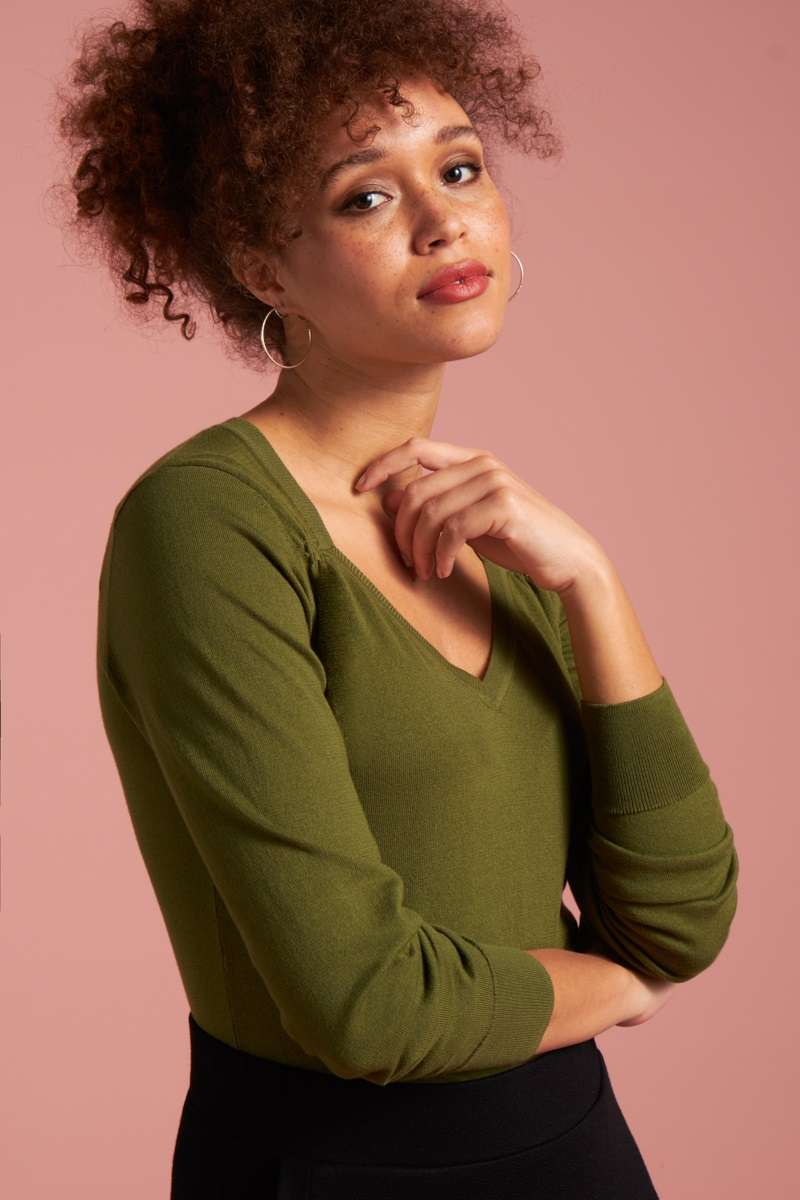 Diamond Knit Top Cottonclub Olive Green