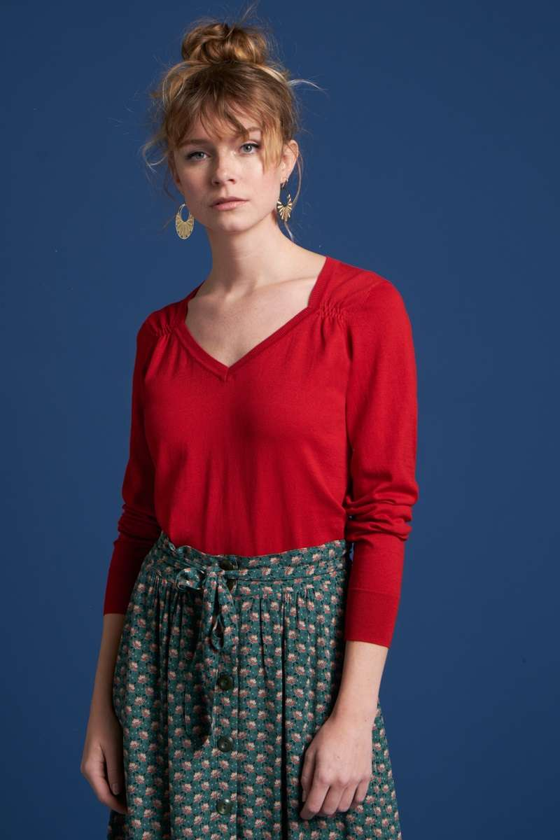 Diamond Knit Top Cottonclub Chili Red