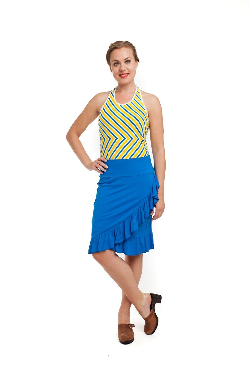Halter Top Stripes Lemon/Kobalt