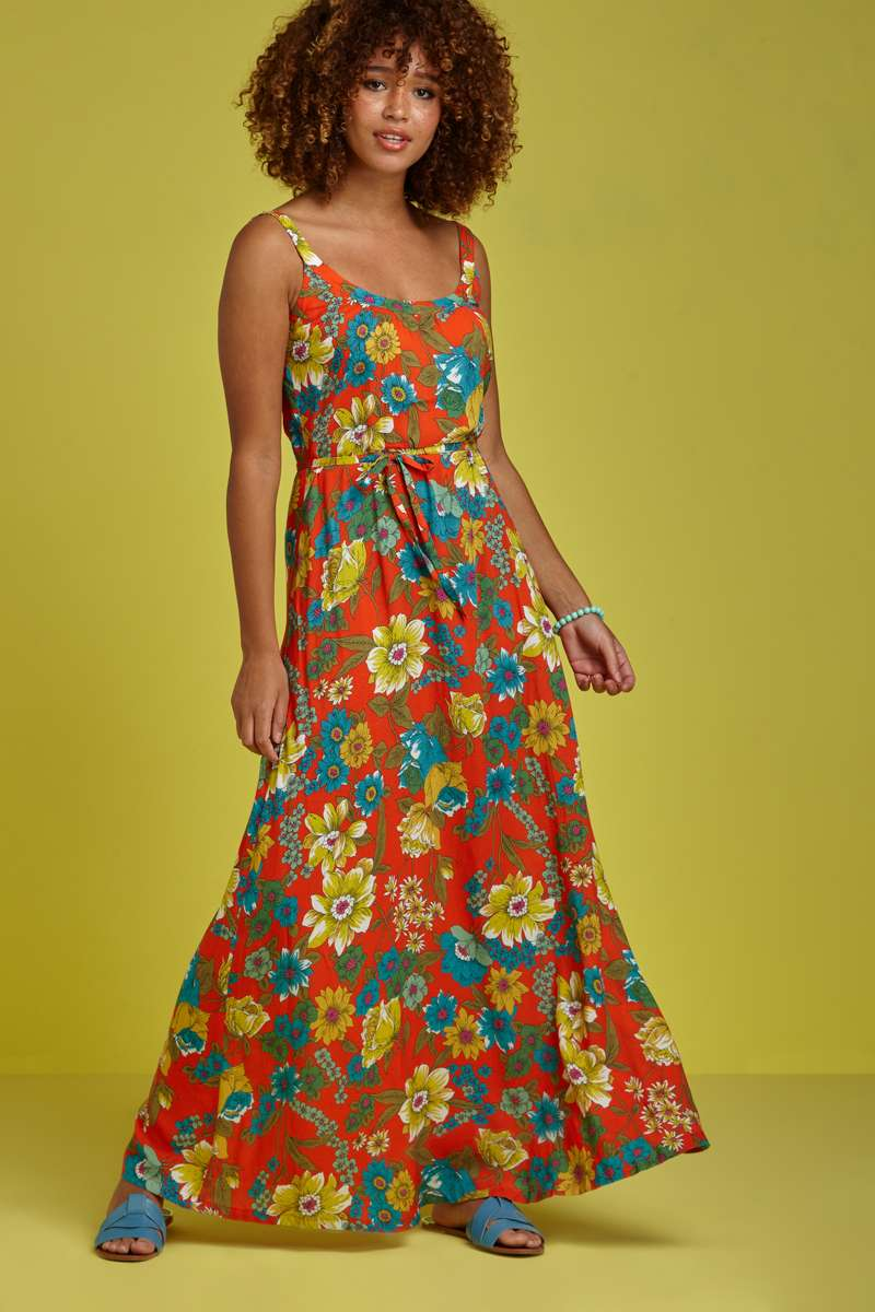 Wijde Maxi Jurk.Allison Maxi Dress Chica Blazing Orange