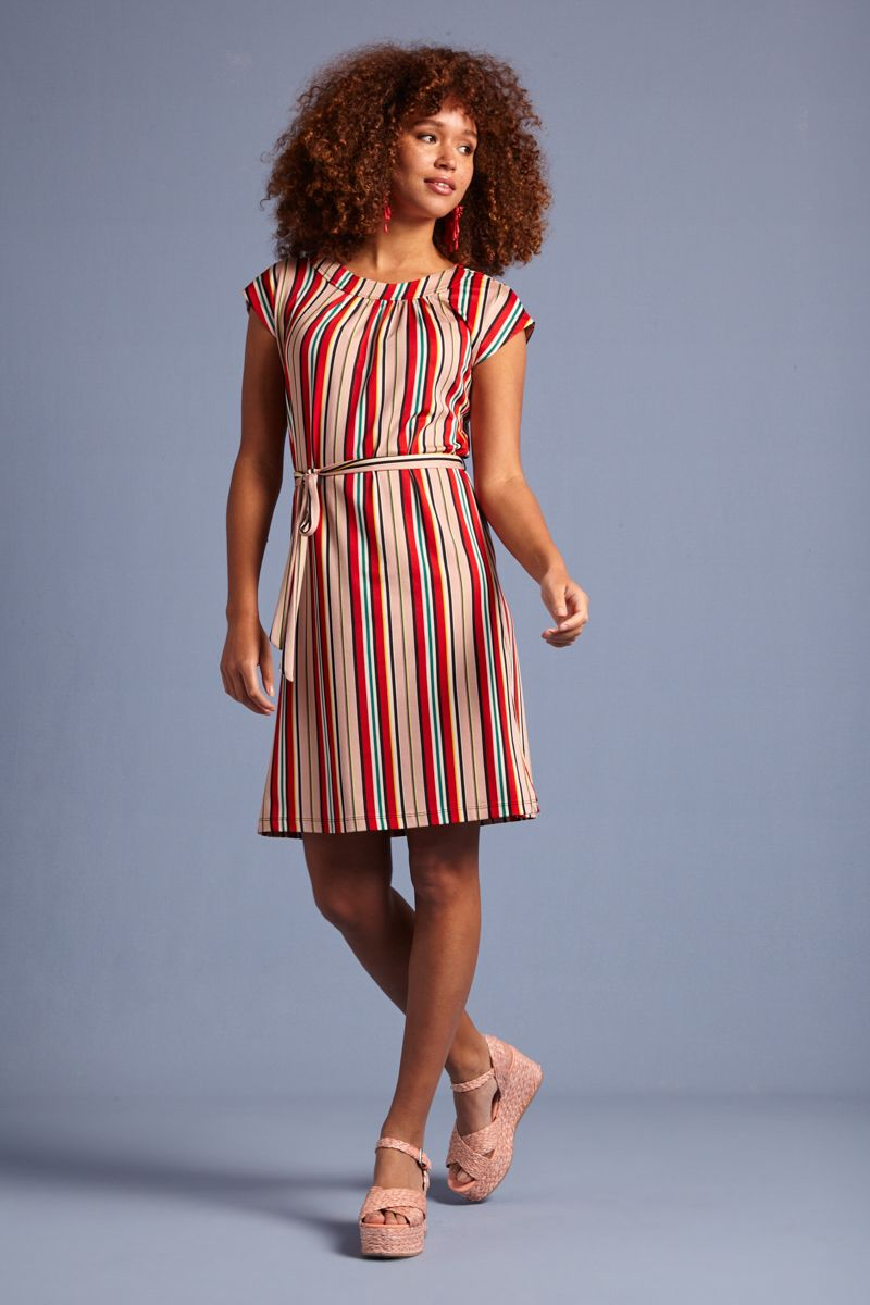 Shirley Dress Lido Stripe Chili Red