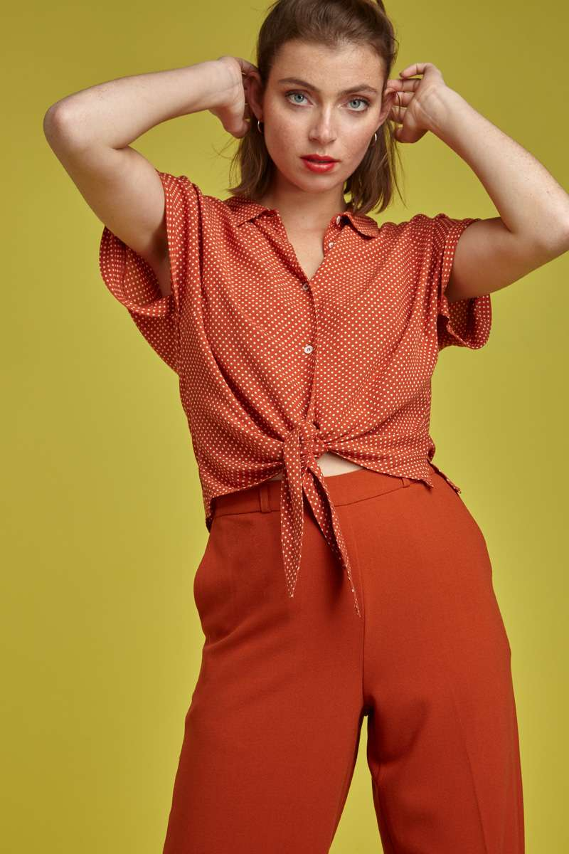 Knot Blouse Mini-Me Clay Red
