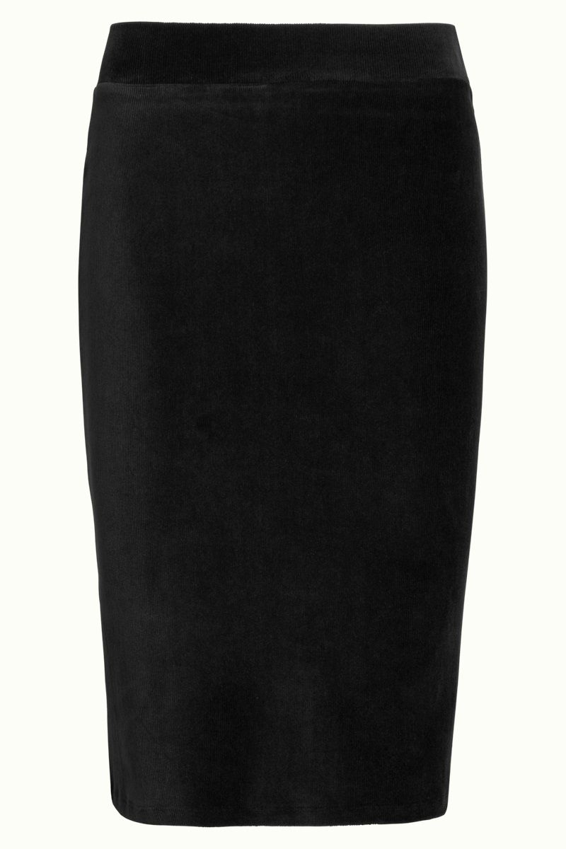 Tube Skirt Rib Velours Black