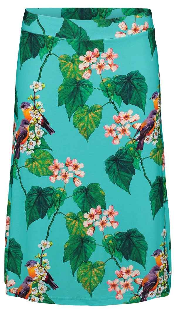Midi Skirt Botanical Bird Blue