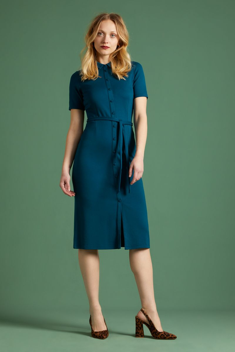 Rosie Slim Fit Dress Milano Uni Pond Blue
