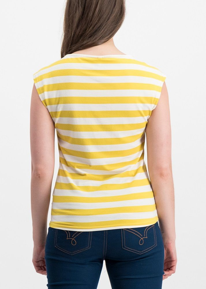 Logo Stripe Top Yellow White