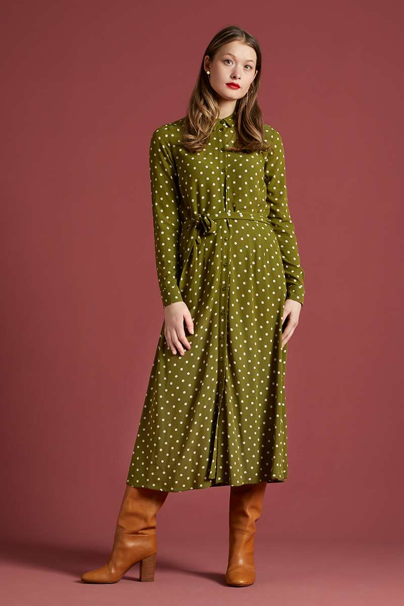 Rosie Midi Dress Pablo Olive Green