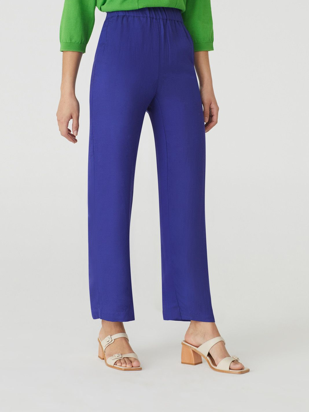 Viscose Linen Basic Trousers Dark Lilac