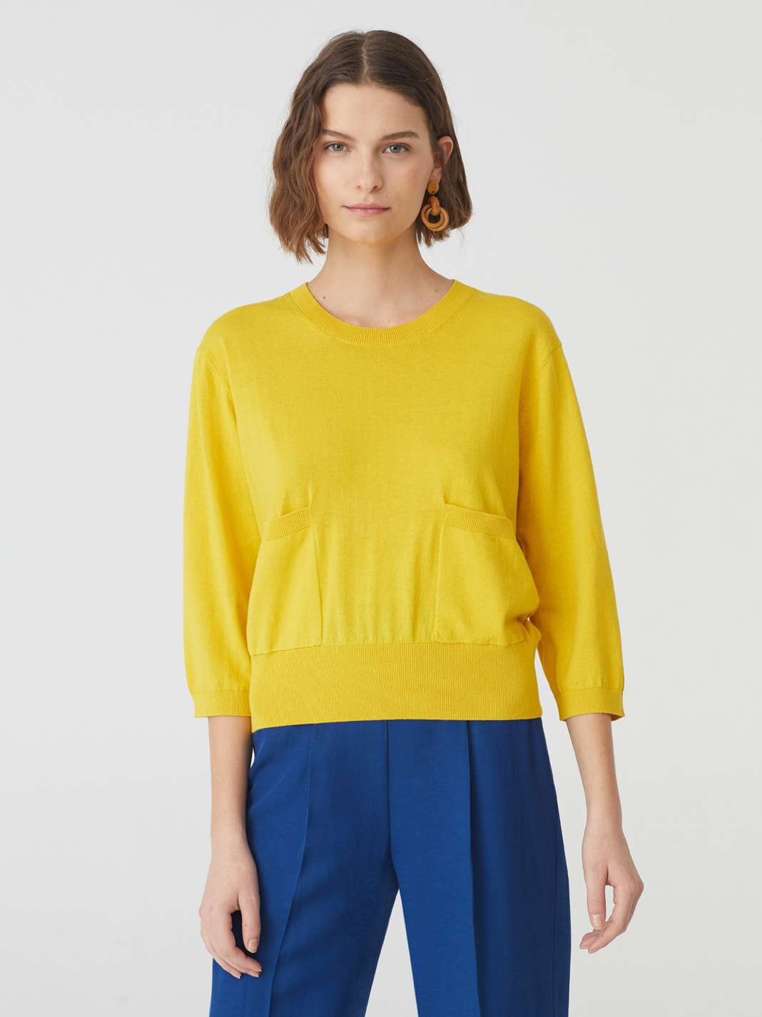 Short Sleeves Tricot Top With Pockets Intense Yellow