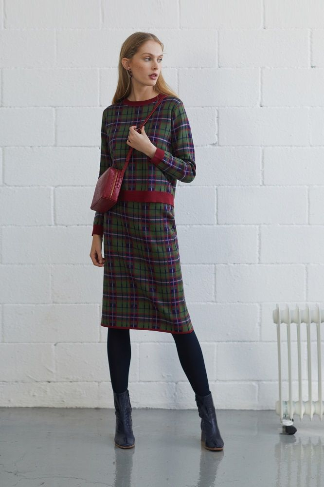 Forest Gre Checked Jacquard Skirt