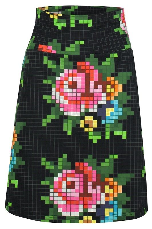 Skirt Pixel Rose Black