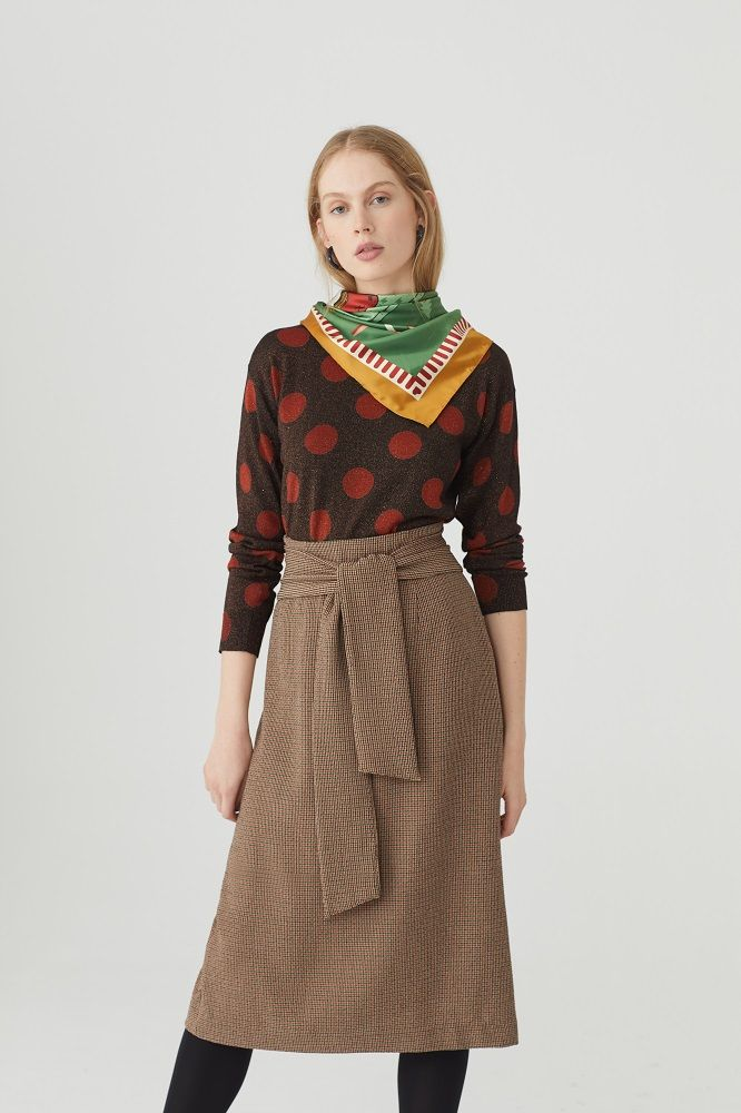 Brown Checked Oppenheim Midi Skirt