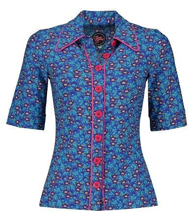 Button Shirt Ditsy Blue