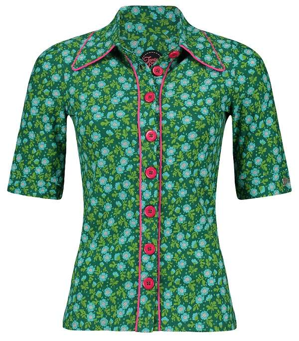 Button Shirt Ditsy Green