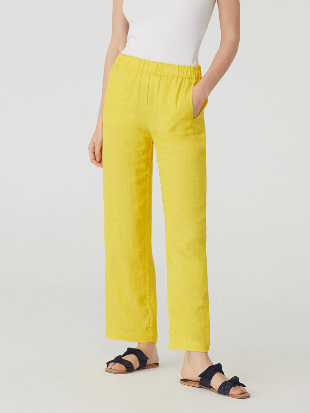 Viscose Linnen Basic Trousers Light Yellow