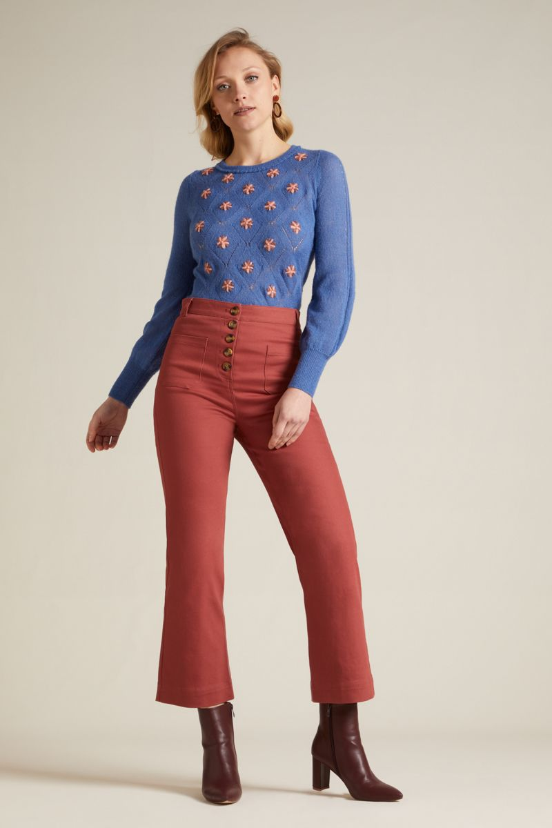 High Waisted Pocket pant Sturdy Desert red
