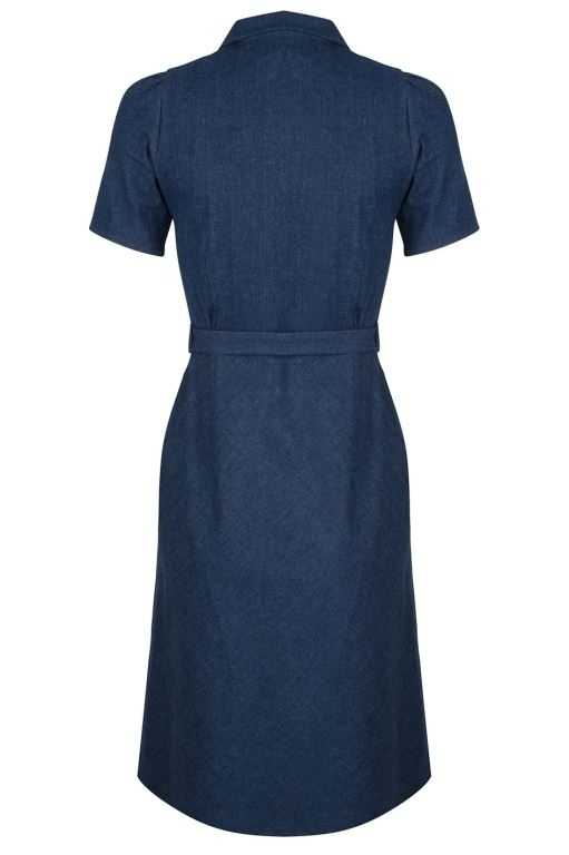 Revers Dress Straight Dark Denim