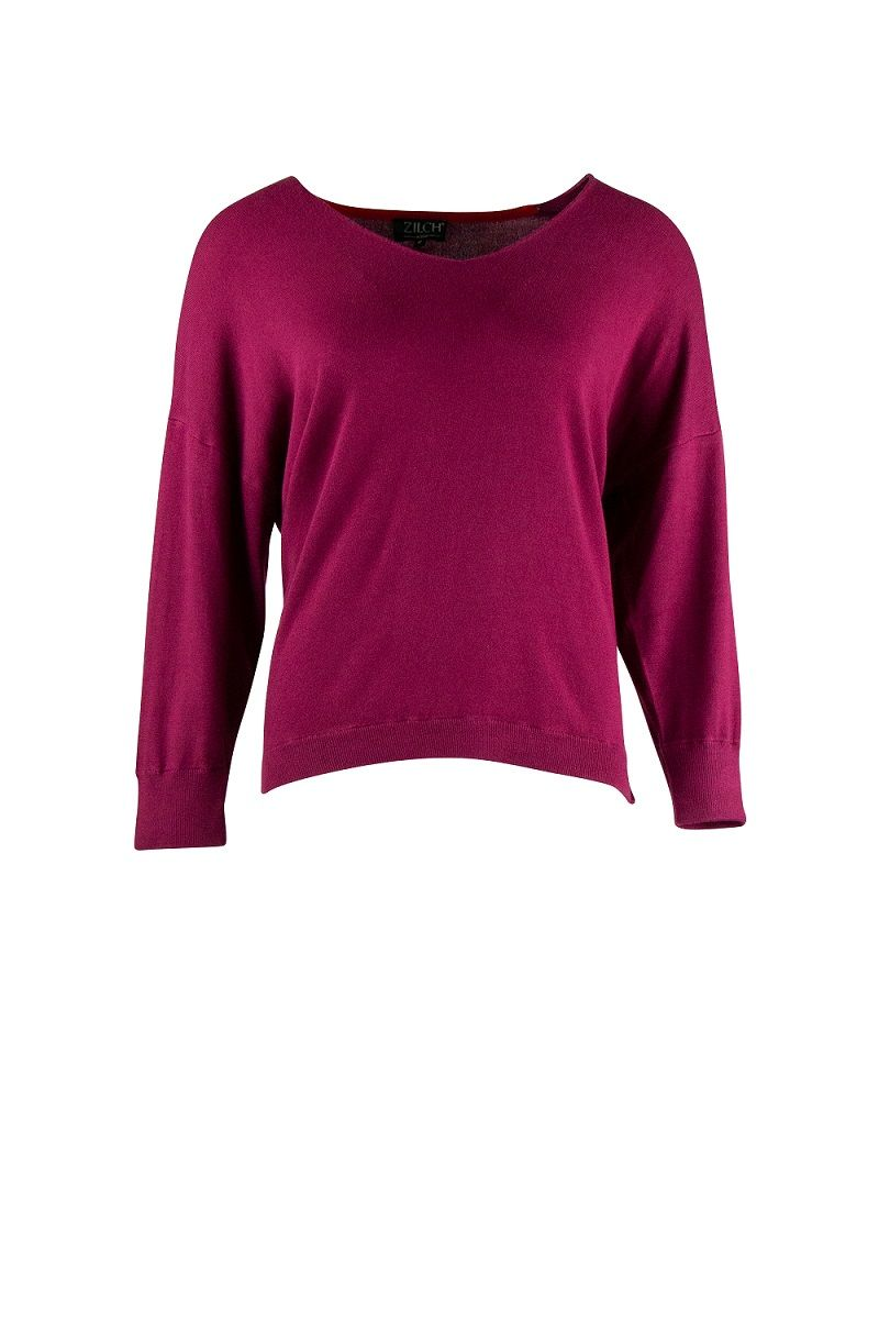 Sweater V-Neck Raspberry
