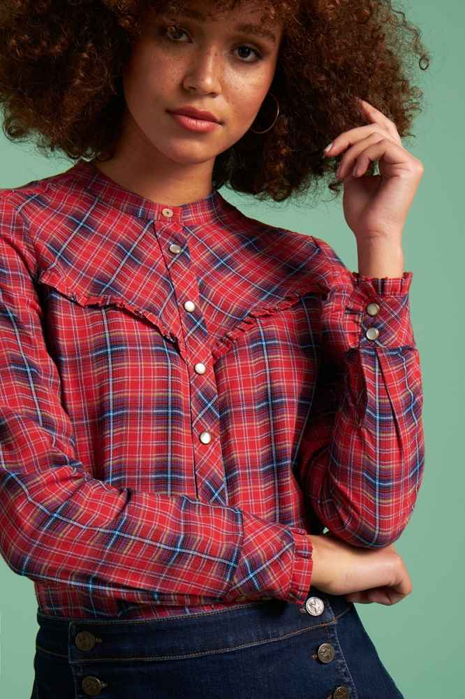 Nala Blouse Cowgirl Check Red