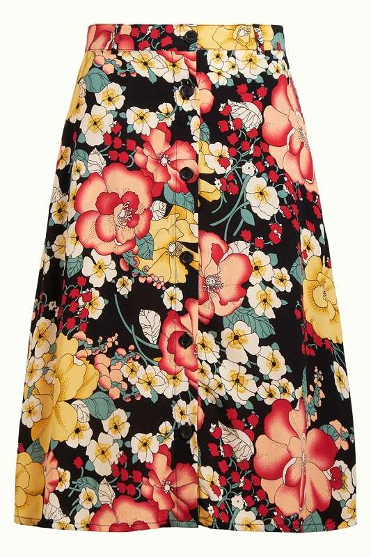 Serena Button Skirt Carioca Black