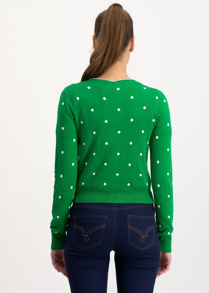 Powerdots Cardigan Super Green Dot