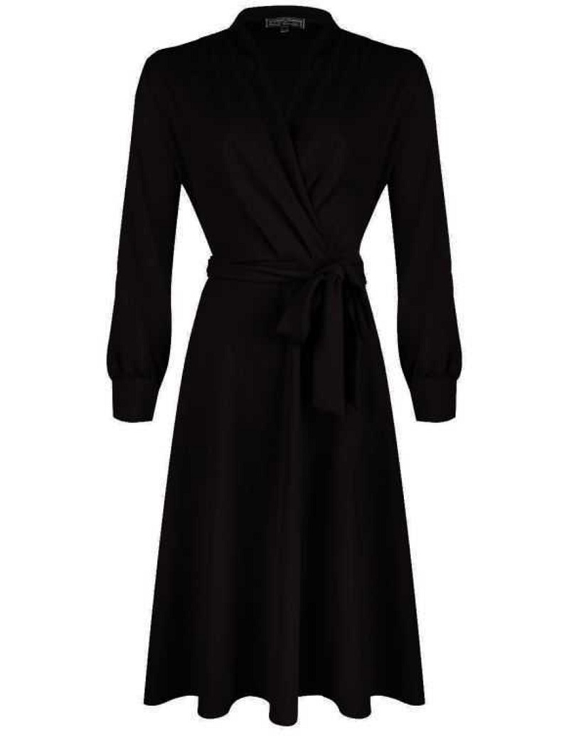 Cross Over Dress Long Sleeve Jersey Crepe Black