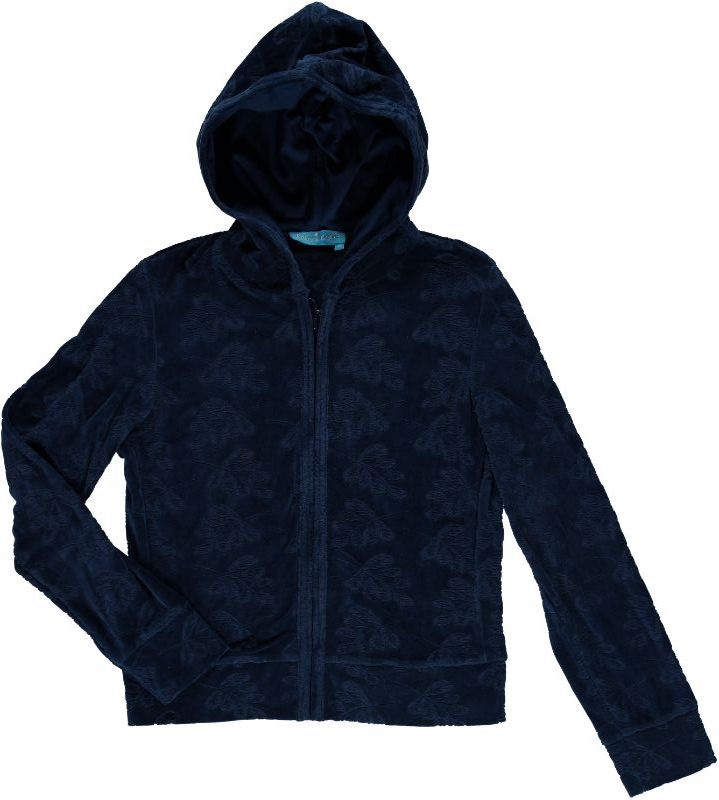 Hooded Cardigan Leaf Velour Solid Midnight
