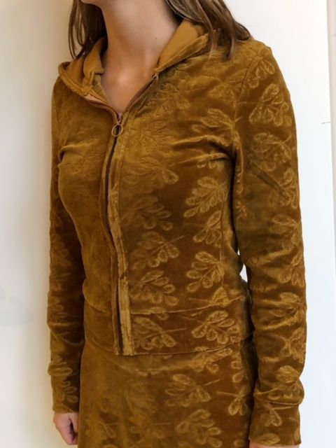 Hooded Cardigan Leaf Velour Solid Bronze