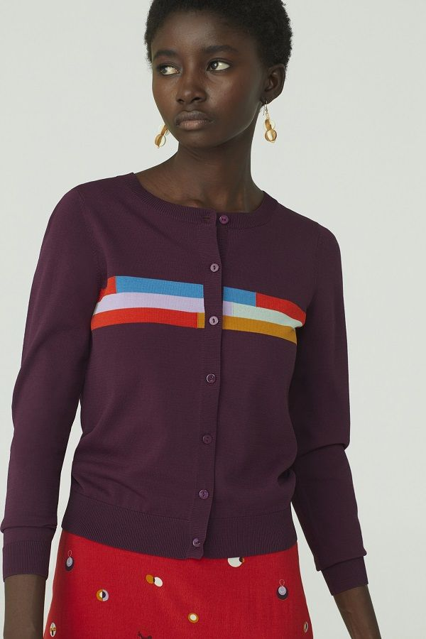 Light Eggp Jacket With Positional Color Stripes