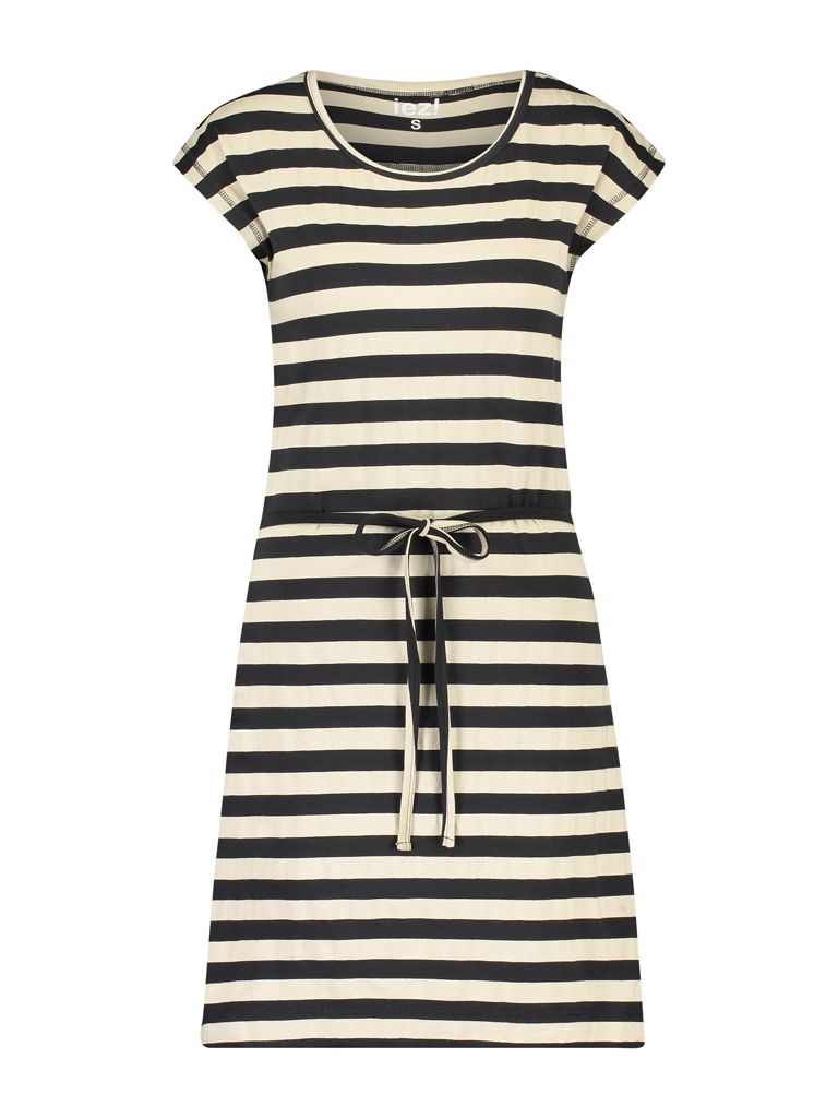 Dress Jersey Stripe Black Camel