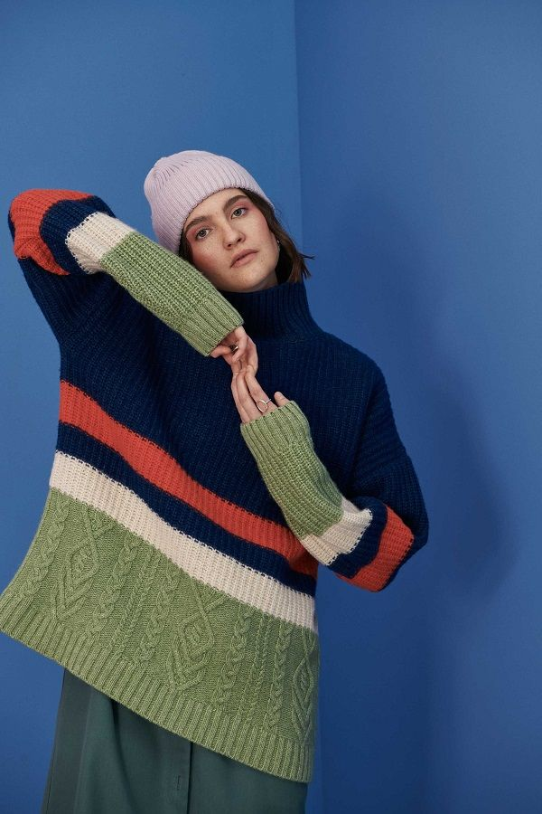 Saffron Womans Wool Sweater Navy