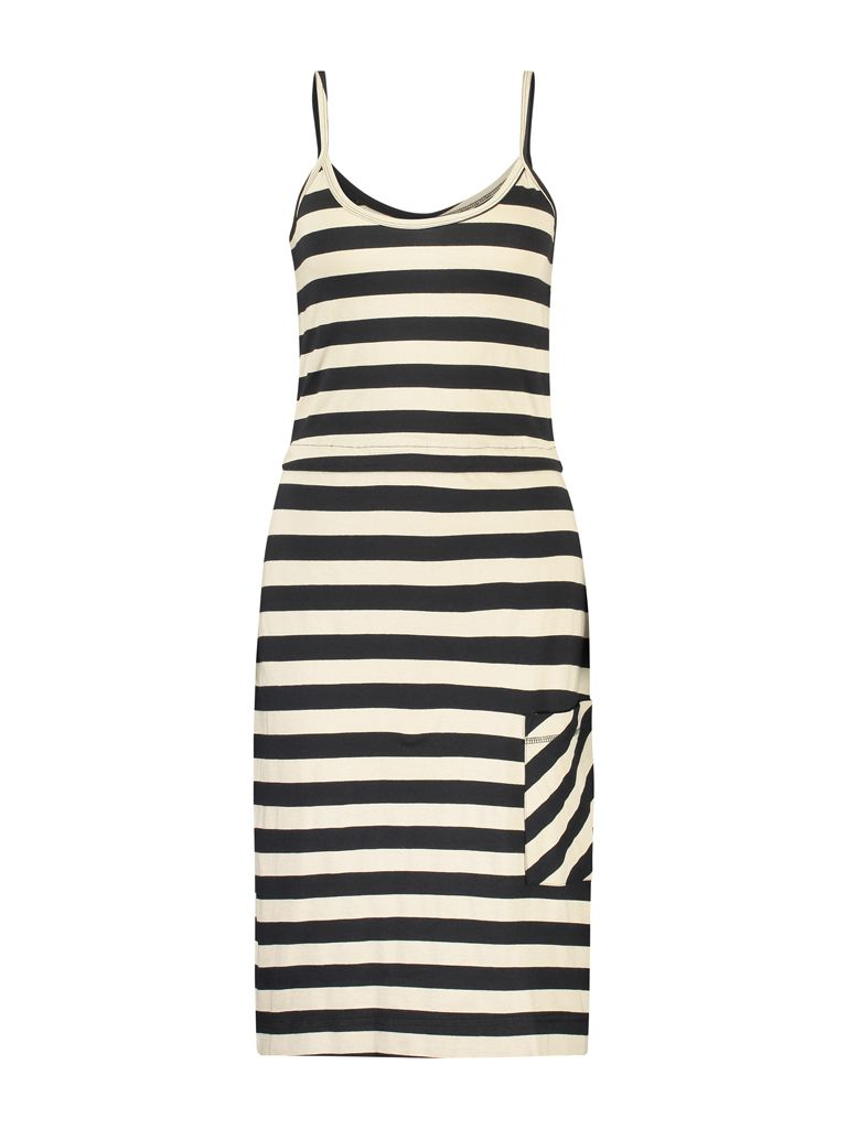 Dress Singlet Jersey Stripe Black Camel