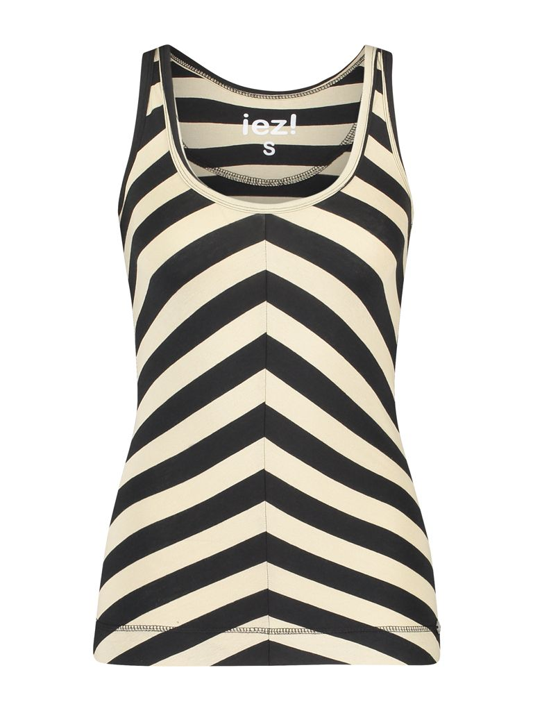 Singlet Jersey Stripe Black Dark Blue