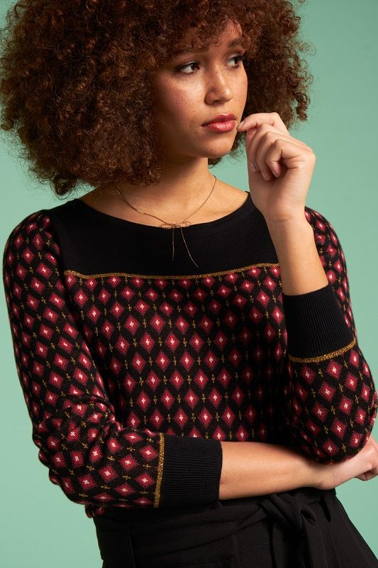 Bella Knit Top Diamond Black