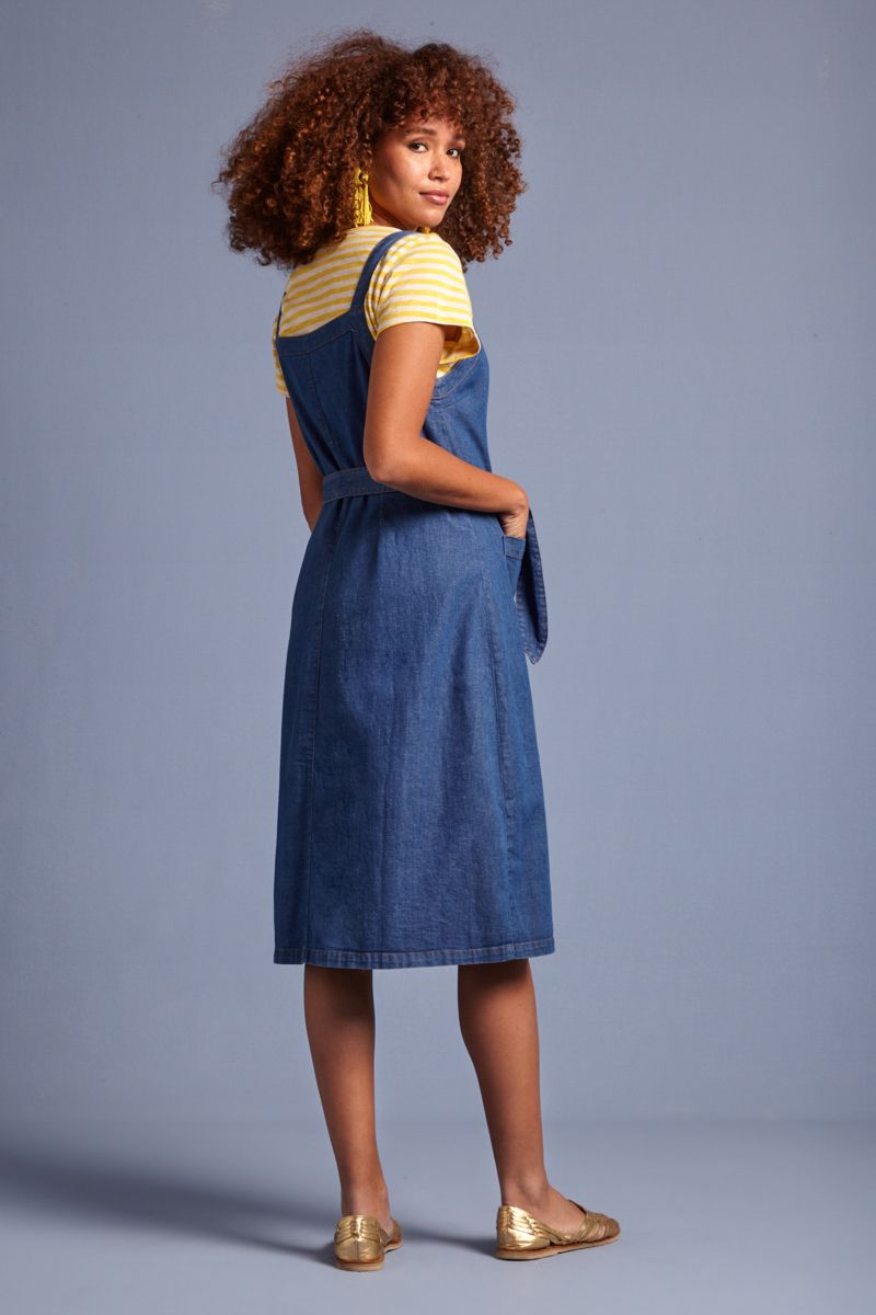 Beth Pinafore Dress Chambray Summer Blue