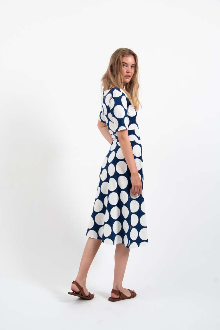Organic - Charlotte Dress Marine/Chalk Big Do