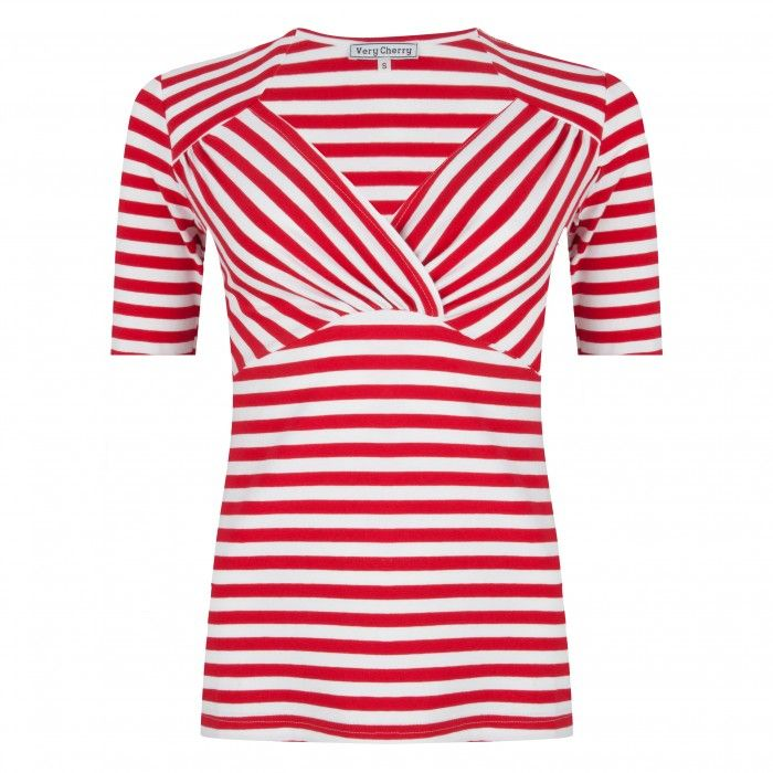 Sweetheart Top Red/White Stripes