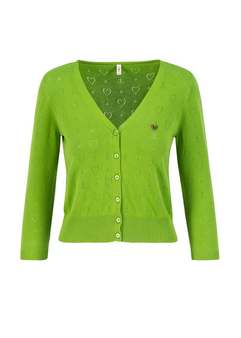Cardigan, V-Neck Kurz Green
