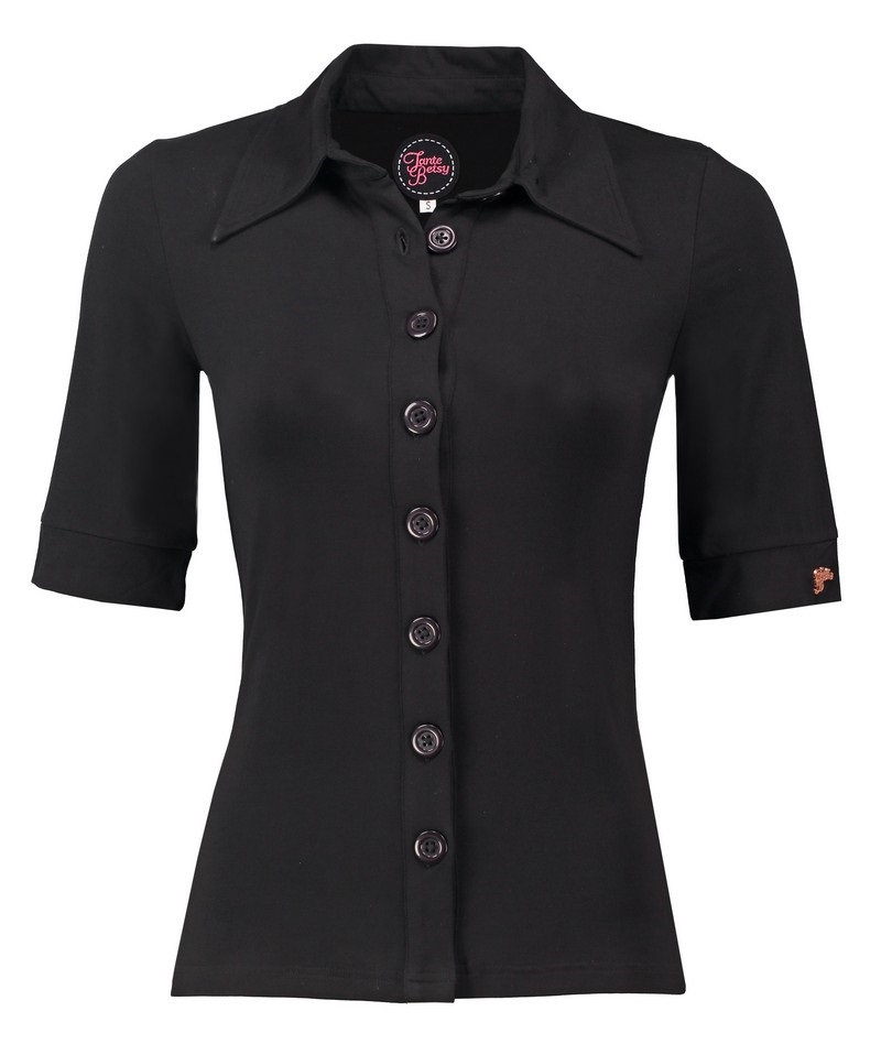 Button Shirt (SV) Solid Viscose Black