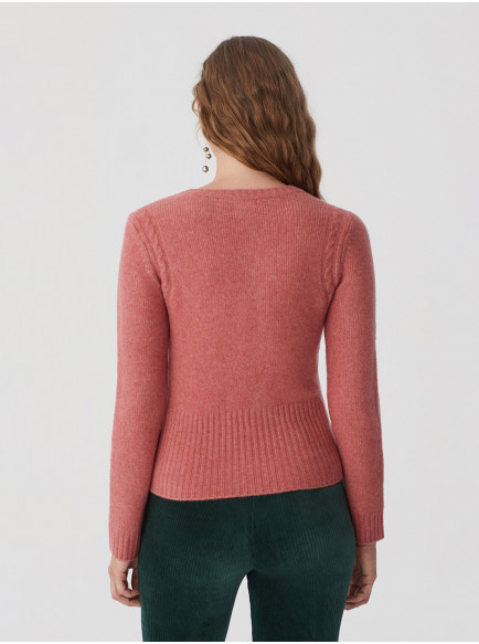 Sweater With Cables Armhole Detail Light Pink