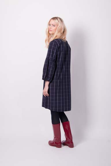 Caramella Plaid Dress Indigo/Off white