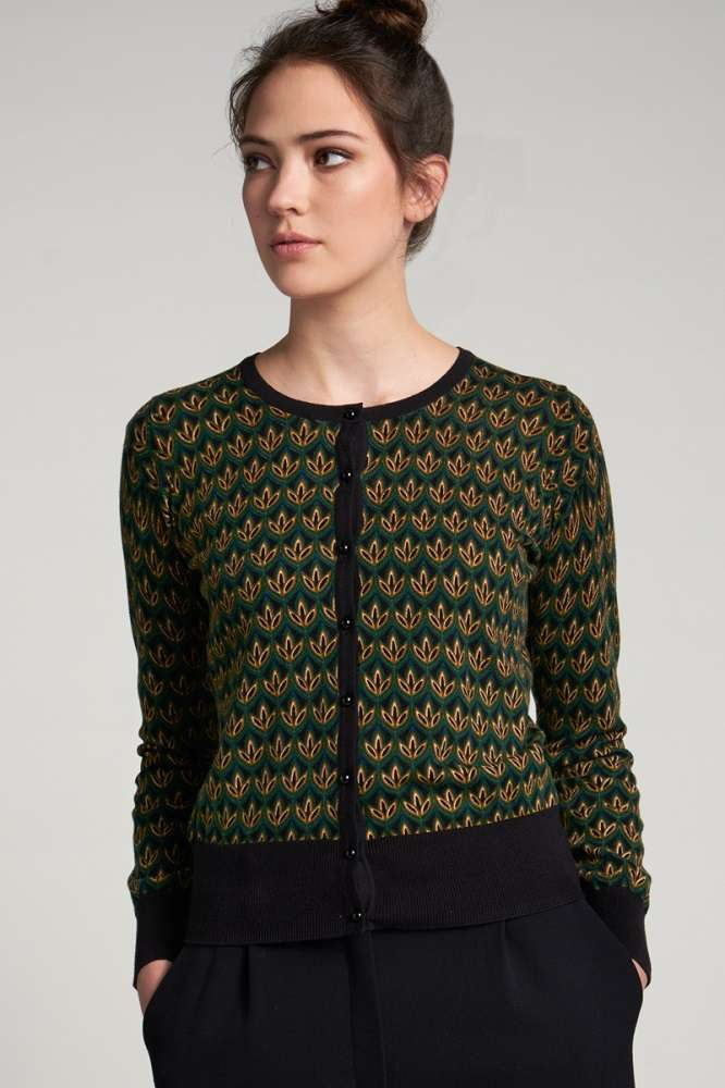 Cardi Roundneck Fiddle Pine Green