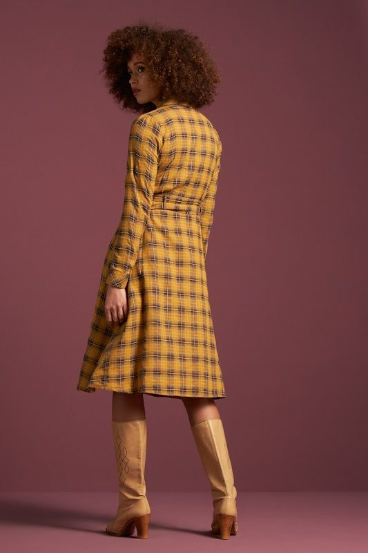 Sheeva Dress Cowgirl Check Sunset Yellow