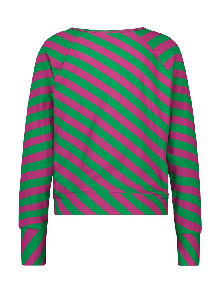 Shirt long sleeve big stripes d.pink