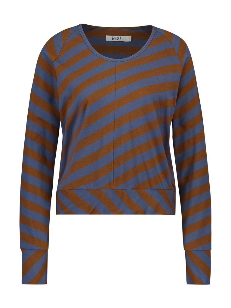 Shirt long sleeve big stripes brown