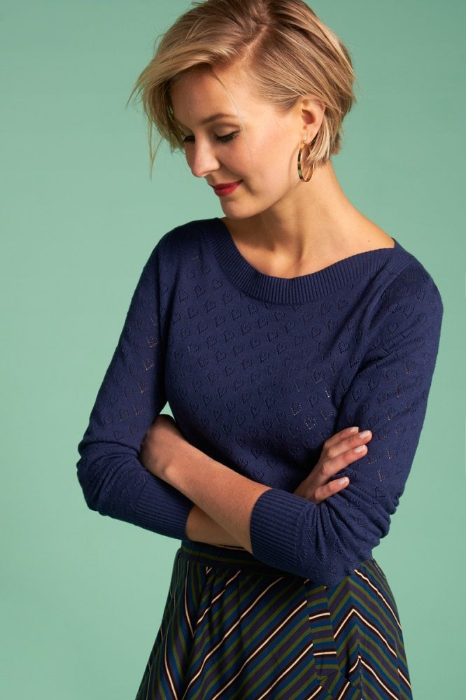 Audrey Top Heart Ajour Autumn Blue