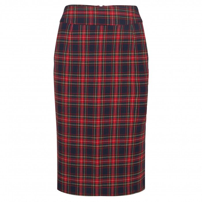 Pencil Skirt Ruit Navy
