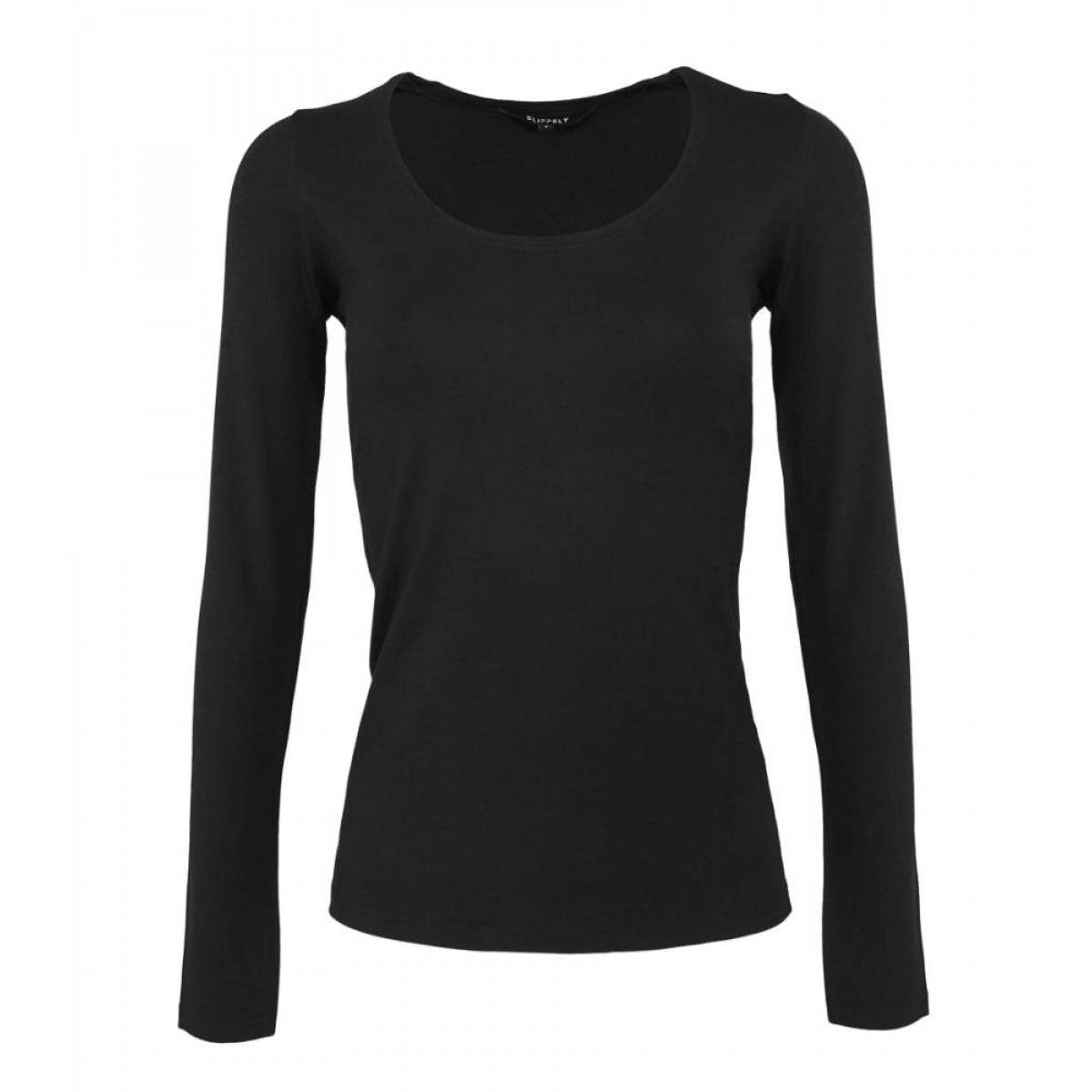 T-shirt longsleeve viscose black